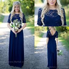 navy blue lace bridesmaid dress 2017 country style navy blue bridesmaid dresses sheer crew neck