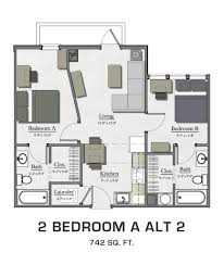 Two Bedroom Apartments Floor Plans For Msu Students Student Housing In East Lansing