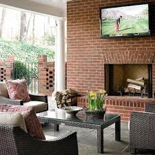 Fireplace Brick Stain by Covered Patio Red Brick Fireplace Design Ideas