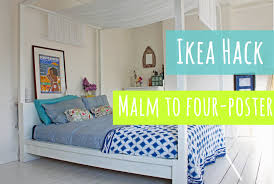 ikea hack malm bed into a four poster youtube