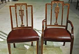 Antique Reproduction Dining Chairs with Neoclassical Dining Chairs With Leather Brass Nails Gold Gilded