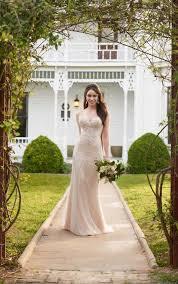 fit u0026 flare wedding dress with lace bodice martina liana