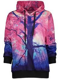 drawstring 3d print kangaroo pocket womens hoodie sale deep pink
