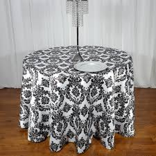 Fitted Round Tablecloth High Quality Flocking Taffeta Tablecloth