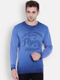 flying machine men blue printed pullover sweatshirt at rs 899