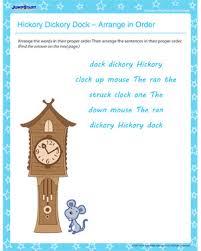 hickory dickory dock arrange in order u2013 nursery rhyme worksheets