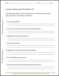 this free printable worksheet asks students to insert commas where