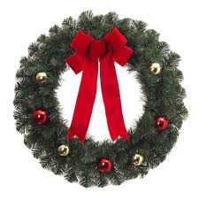 26 in noble pine artificial wreath with ornaments and bow