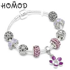 pandora silver bracelet with charms images Homod 2018 new cute silver charm bracelet with flower pendant jpg