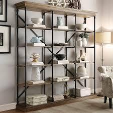 belvidere 5 shelf wide bookcase black homelegance brown wide