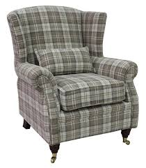 high back wing armchairs check fabric high back wing chair chairs armchairs
