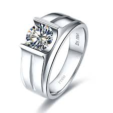 diamond ring for men design 1ct luxury silver solitaire ring for engagement