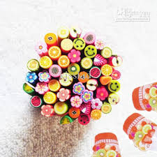 fruits flowers fimo clay assorted fruits flowers animals sticks nail