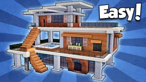 modern house building minecraft how to build a modern house easy tutorial youtube