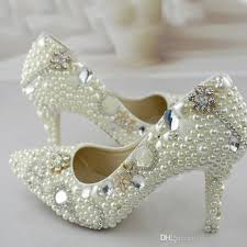 pearl wedding shoes pointed toe pearl wedding shoes 3 inches high heel bridal dress