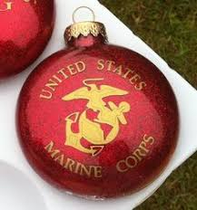 usmc and gold 80mm glass ornament set sgt grit