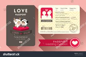 Invite Card Design Cartoon Passport Wedding Invitation Card Design Stock Vector