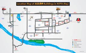 map of allen allen career institute kota academic system