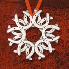 horseshoe ornaments hammer horseshoe wreath and hammer silver ornament