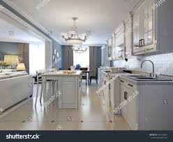 Kitchen Brick Backsplash Kitchen Stainless Steel Appliances White Cabinets Stock