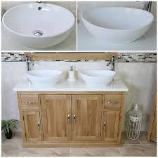 Oak Bathroom Vanity Unit Solid Oak Bathroom Vanity Unit Cabinet Twin Ceramic Bowl Basin Tap