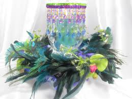 Peacock Feather Home Decor Peacock Feathered Wreath And Beaded Hurricane Candle Holder