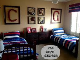 Blue And Red Boys Bedroom Kid Bedroom Entrancing Shared Hockey Themed Boy Bedroom