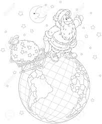 on christmas eve santa claus going on a globe and pulling a sack