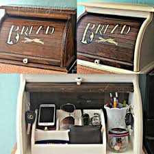 my breadbox makeover to phone charger and kitchen clutter catch all