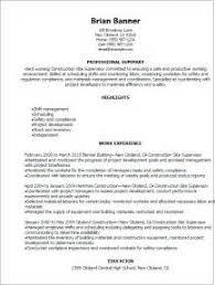 Superintendent Construction Resume Resume Templates Construction Construction Site Supervisor Resumes