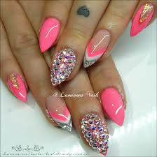 luminous nails neon pink white u0026 silver acrylic nails with