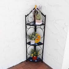 sunnydaze 3 tier mosaic tiled indoor outdoor corner display shelf