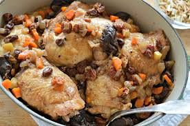 seder dishes chicken with dried fruit and almonds for passover west of the loop