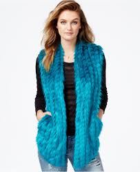 black friday guess guess faux fur contrast panel vest in blue lyst