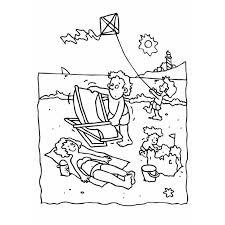 coloriage plage et cerf volant a imprimer gratuit