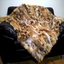 Fox Fur Blanket Vintage Real 100 Alpaca Fur Buffalo Made In Peru Tapestry Blanket
