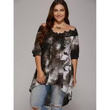 blouse plus size wholesale plus size lace trim high low hem blouse 5xl gray