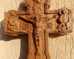 carved wooden crosses wood cross wall decor etsy
