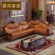 cowhide leather sofa corner sofa luxury villa hand carved solid