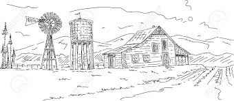 ranch clipart agriculture farming pencil and in color ranch