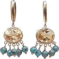fabulous earrings fabulous vintage dangle earrings citrine turquoise 14k gold from