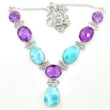 natural amethyst necklace images 925 sterling silver natural blue larimar purple amethyst necklace JPG