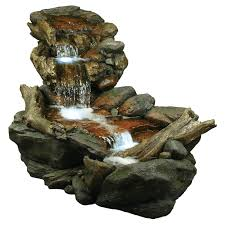 Alpine Rainforest Waterfall Outdoor Fountain LED Lights Hayneedle - Pond lights home depot