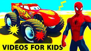 lightning mcqueen monster truck videos 3d spiderman cartoon for kids w monster truck lightning mcqueen