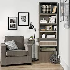 Bookcase Narrow by Lori Concertina Bookcase In Graphite Cashmere U0026 Oak Grey Home Offic