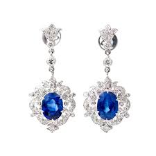earring dangles royal blue sapphire diamond gold dangle earrings sapphire