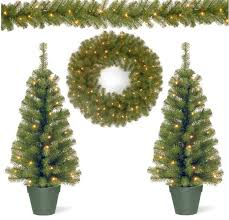 battery operated pre lit artificial trees garland wreath 74 89
