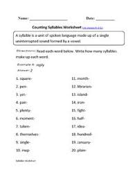 counting syllables part i syllable worksheets and phonics