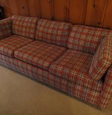 red plaid sleeper sofa and chair ebth