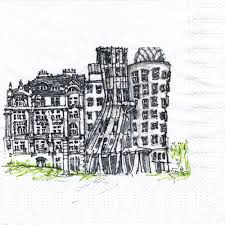 nang ma napkin sketch dancing house by frank gehry